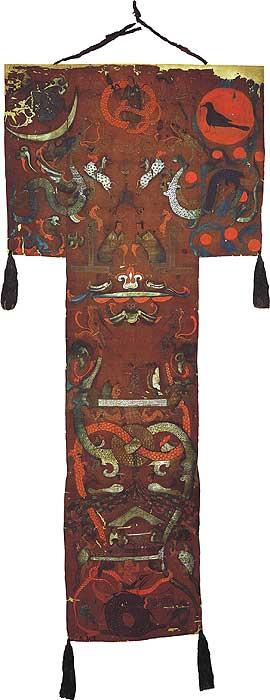 Funeral banner of Lady Dai (Xin Zhui), 2nd century B.C.E., silk, 205 x 92 x 47.7 cm (Hunan Provincial Museum)