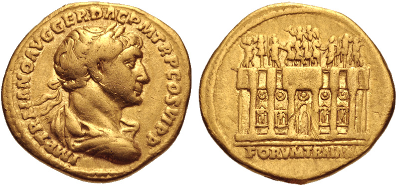 "Gold coin (aureus) struck at Rome c. 112-115 C.E. (19 mm, 7.13 g, 7h). The legend reads ""IMP TRAIANO AVG GER DAC P M TR P COS VI P P (""To the emperor Trajan Augustus Germanicus Dacicus, Pontifex Maximus, [holder of] tribunician power, in his sixth consulship, father of his country"". The coins depicts a laureate Trajan (draped, and cuirassed bust right) seen from behind on the observe side. On the reverse the Arcus Traiani of the Forum of Trajan is seen. This is presented a hexastyle building facade, crowned by a frontal chariot drawn by six horses. Three figures stand to the left and right, while four statues occupy niches in the arches below. The reverse legend reads ""FORVM TRAIAN[A]""."