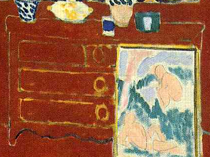 Painting and dresser (detail), Henri Matisse, The Red Studio, 1911, oil on canvas, 181 x 219.1 cm (Museum of Modern Art, New York)