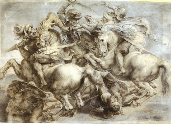 Peter Paul Rubens, Copy after Leonardo's 'Battle of Anghiari,' c. 1604, Black chalk, pen and ink, highlights in grey and white, 45.2 x 63.7cm (Louvre Paris)