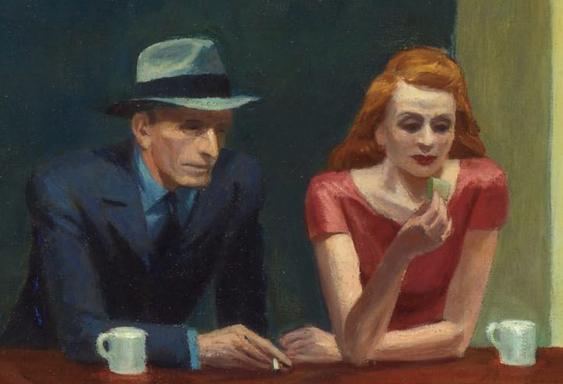 Edward Hopper, Nighthawks, 1942, oil on canvas, 84.1 x 152.4 cm / 33-1/8 x 60 inches (Art Institute of Chicago).