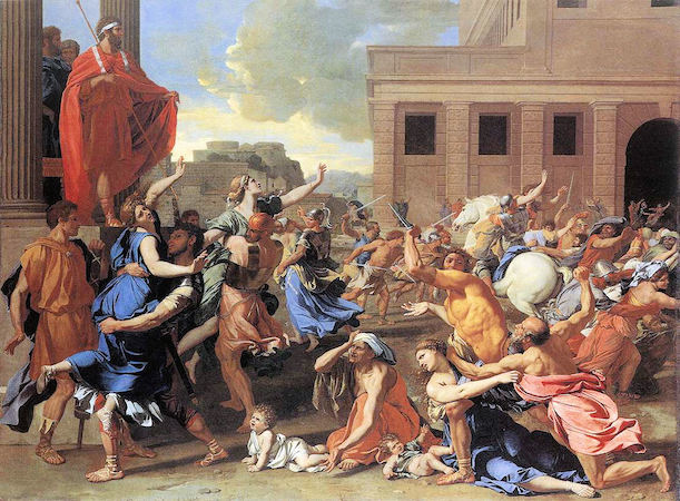 Nicolas Poussin, The Rape of the Sabine Women, c. 1637-38, oil on canvas, 159 x 206 cm (Musée du Louvre)
