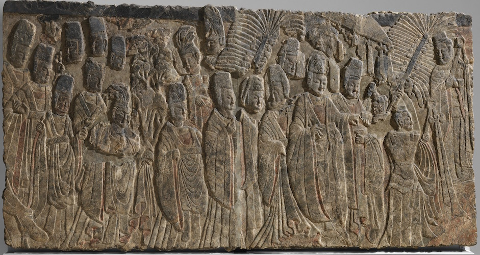 "Emperor Xiaowen and His Court, c. 522-23, China, Northern Wei dynasty, limestone with traces of pigment, 82"" x 12' 11"" / 208.3 x 393.7 cm (The Metropolitan Museum of Art)"
