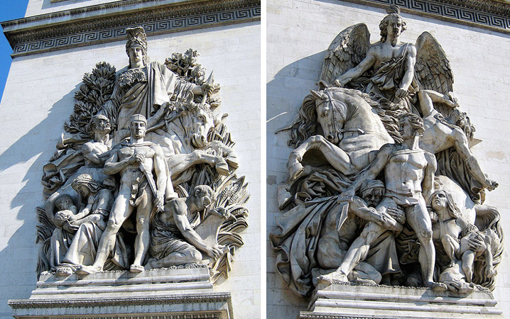 Left: Antoine Étex, Peace, 1833–36, Limestone, Arc de Triomphe de l'Étoile, Paris; Right: Antoine Étex, The Resistance, 1833–36, Limestone, Arc de Triomphe de l'Étoile, Paris (photos: Wally Gobetz, CC BY-NC-ND 2.0)