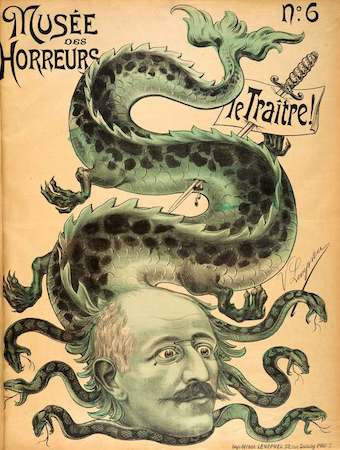 """A military sabre pins a notice of guilt into the body of a hydra which has sprouted the head of Captain Alfred Dreyfus. The multi-headed beast, a symbol of indomitable evil, is just one of the many conventions used by Dreyfus's anti-Semitic opponents to establish his inherent malevolence."""