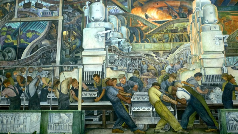 North wall (detail), Diego Rivera, Detroit Industry murals, 1932-33, twenty-seven fresco panels at the Detroit Institute of Arts (photo: quickfix, CC BY-SA 2.0)