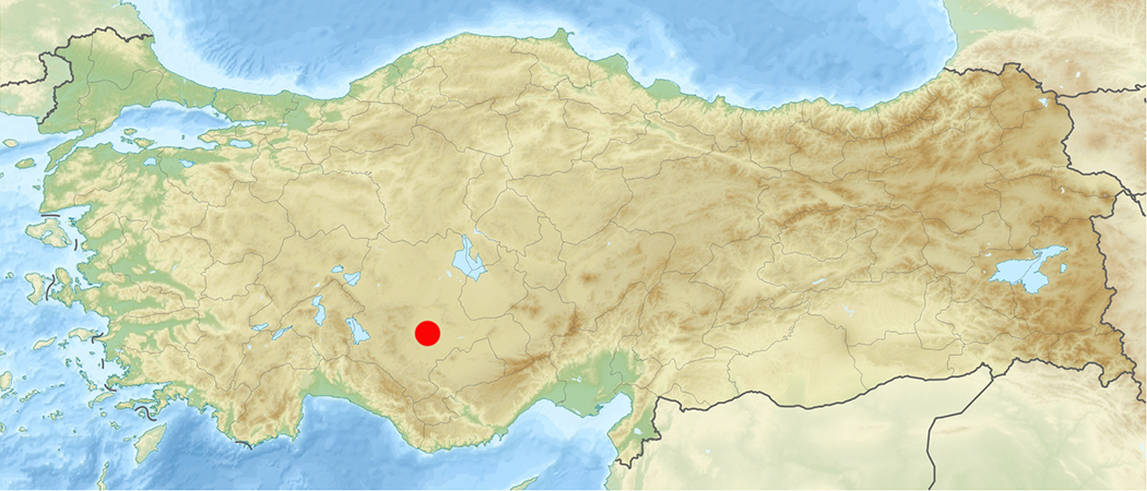 Relief map of Turkey noting the location of Çatal Höyük (map: Uwe Dedering, CC: BY-SA 3.0)