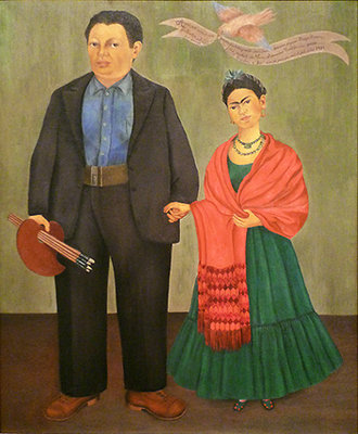 Frida Kahlo, Frieda and Diego Rivera, 1931, oil on canvas, 39-3/8 x 31 inches or 100.01 x 78.74 cm (San Francisco Museum of Modern Art)