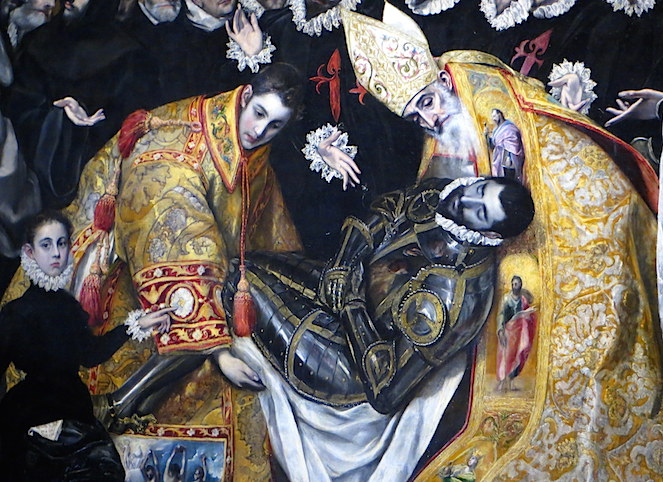 Burial (detail), El Greco, Burial of the Count of Orgaz, 1586–88, oil on canvas, 480 x 360 cm (Santo Tomé, Toledo, Spain)