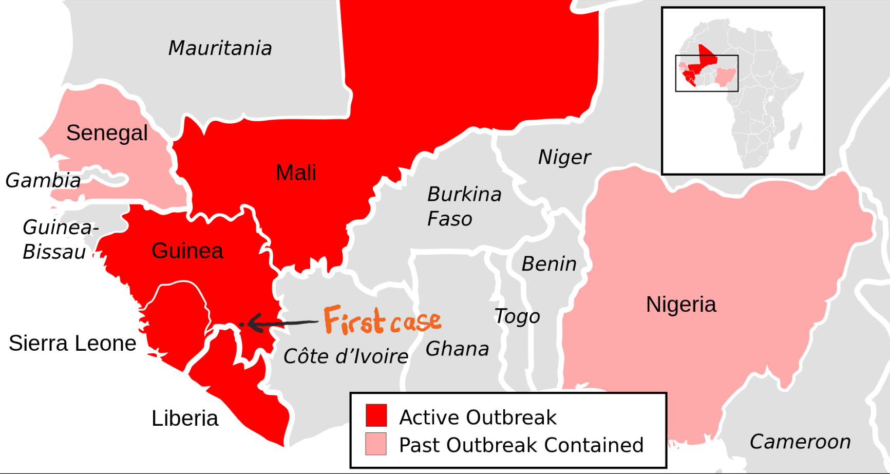 Ebola map of disease spread