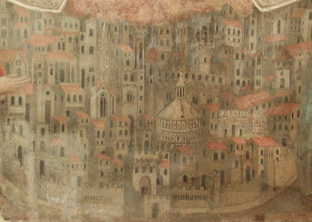 Unknown Artist, Madonna della Misericordia (detail, view of Florence), 1342, Museo del Bigallo, Florence. Unknown Artist, Madonna della Misericordia (detail, view of Florence), 1342 (Museo del Bigallo, Florence)