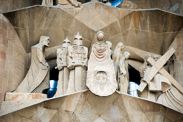 Detail of the Passion Façade, Josep Maria Subirachs (sculptor), Antoni Gaudí, Church of the Sagrada Família or Basílica i Temple Expiatori de la Sagrada Família, 1882- (consecrated 2010, but still under construction), Barcelona, Spain (photo: Mstyslav Chernov CC BY-SA 3.0)