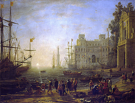 Claude Lorrain, Port Scene with the Villa Medici, 1638, oil on canvas, 102 x 133 cm (Uffizi Gallery, Florence)