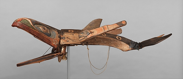 Kwakwaka'wakw artist, Whale Mask, 19th c., from Alert Bay, Vancouver Island, British Columbia, Canada, cedar wood, cord, metal, leather, denim, pigments, 58 x 36.5 x 161.3 cm (The Metropolitan Museum of Art)