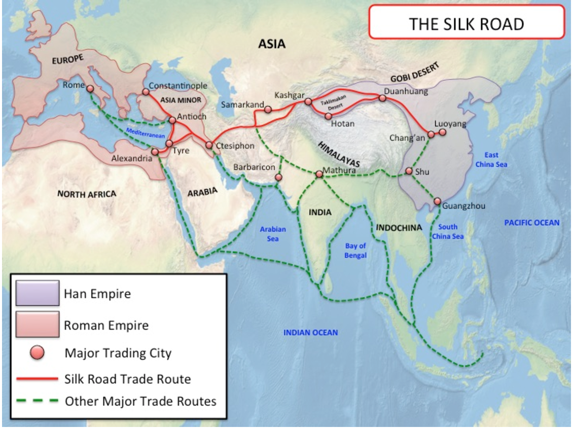Map Of The Silk Road Trade Routes During The Period Of The Han Dynasty And  Roman Empire.