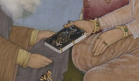 "Shaikh's bare hands and the bejeweled hands of Jahangir (detail), Bichtir, Jahangir Preferring a Sufi Shaikh to Kings from the ""St. Petersburg Album,"" 1615-1618, opaque watercolor, gold and ink on paper, 180 x 253 cm (Freer