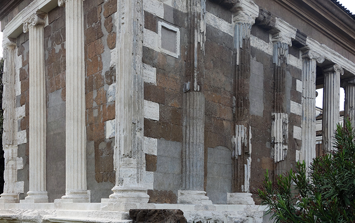 Engaged columns, Temple of Portunus (formerly known as Fortuna Virilis), travertine, tufa, and stucco, c. 120-80 B.C.E., Rome