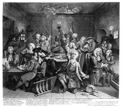 "William Hogarth, A Rake's Progress, plate 6, ""The Gaming House,"" 1735, engraving on paper, 35.5 x 31 cm"