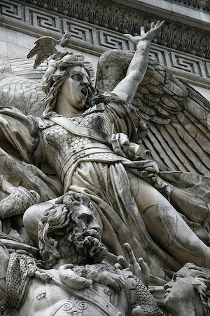 Genius of Liberty (detail), François Rude, La Marseillaise (The Departure of the Volunteers of 1792), 1833-6, limestone, c. 12.8 m high, Arc de Triomphe de l'Etoile, Paris