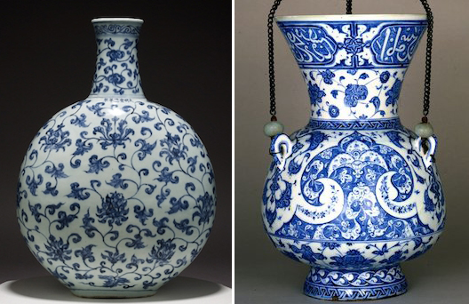 Left: Scrolling lotus flask, Ming dynasty, Jingdezhen, China, 1426-1435 ; Right: Mosque Lamp, c. 1510, fritware, Iznik, Turkey, both: © The Trustees of the British Museum