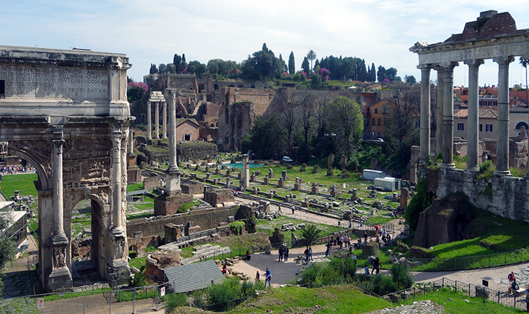 View of the Forum from the slope of the Capitoline to the Palatine