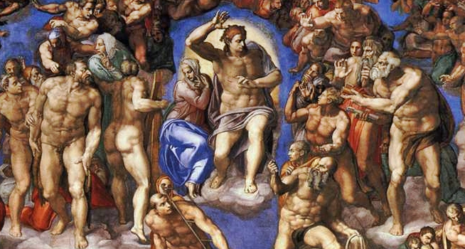Christ, Mary, and the Apostles (detail), Michelangelo, Last Judgment, 1536-1541, fresco, 1370 x 1200 cm (Sistine Chapel, Vatican City)