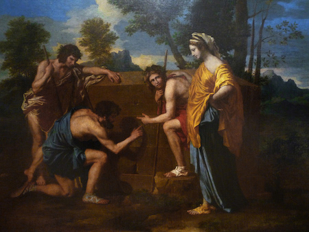 Nicolas Poussin, Et in Arcadia Ego, 1637-38, oil on canvas, 185 cm × 121 cm (72.8 in × 47.6 in) (Louvre)