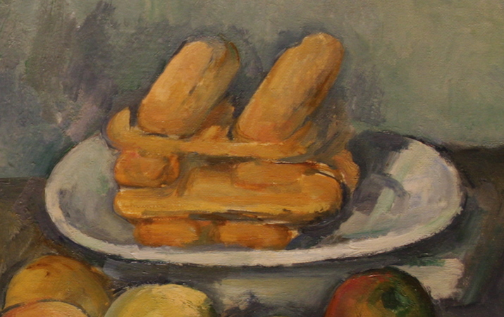 Cookies (detail), Paul Cézanne, The Basket of Apples, c. 1893, oil on canvas, 65 x 80 cm (Art Institute of Chicago)