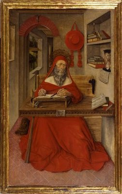 Antonio da Fabriano II, Saint Jerome in his Study, 1451, tempera, oil (?) and gold leaf on wood panel, 34 13/16 x 20 13/16 inches (The Walters Art Museum)
