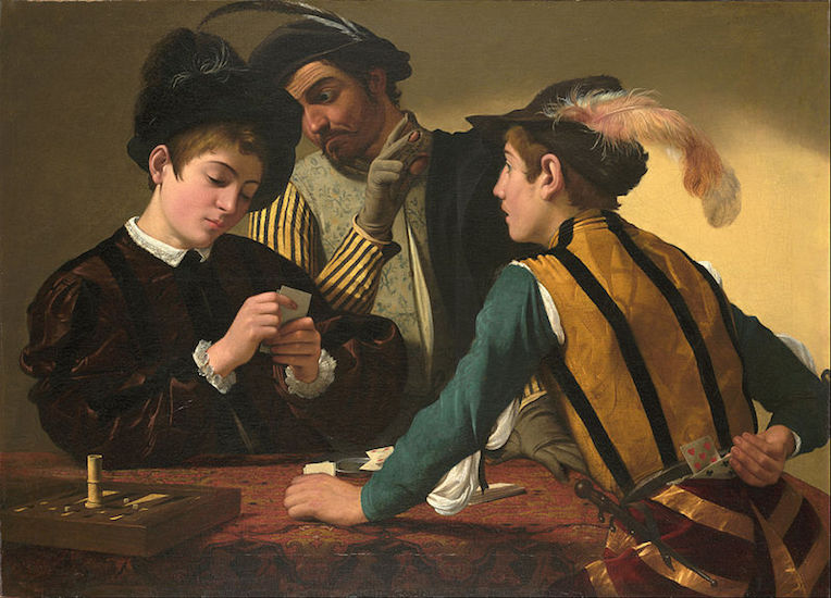 Caravaggio, The Cardsharps, c. 1594, oil on canvas (Kimbell Art Myuseum, Fort Worth)