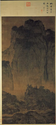 Fan Kuan, Travelers by Streams and Mountains,  ink on silk hanging scroll, c. 1000, 206.3 x 103.3 cm. (National Palace Museum, Taibei)
