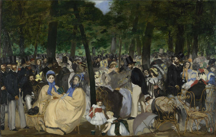 Édouard Manet, Music in the Tuileries Gardens, 1862, oil on canvas, 76.2 x 118.1 cm (The National Gallery, London)