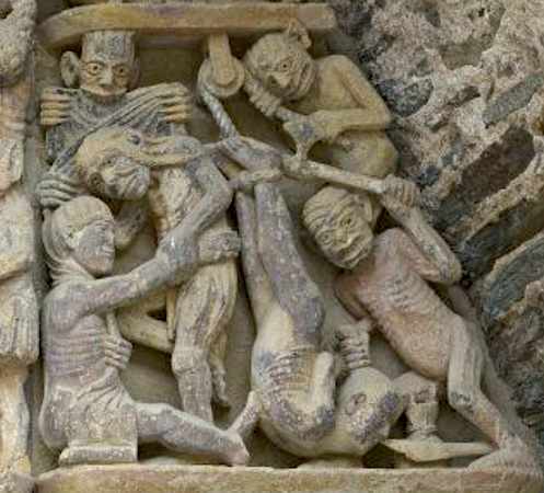 A gluttonous man hung by his legs and cloth stripped from the wealthy, Last Judgment tympanum, Church of Sainte‐Foy, France, Conques, c. 1050–1130 (detail taken from gigapixel image, Columbia University)