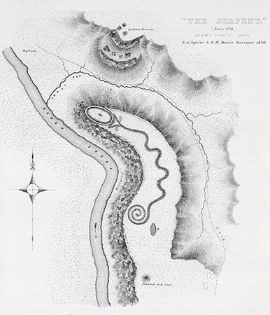 "Ephraim George Squier and E. H. Davis, ""The Serpent;"" entry 1014, Adams County Ohio. Pl. XXXV, Ancient monuments of the Mississippi Valley: comprising the results of extensive original surveys and explorations, Washington: Smithsonian institution, 1848"