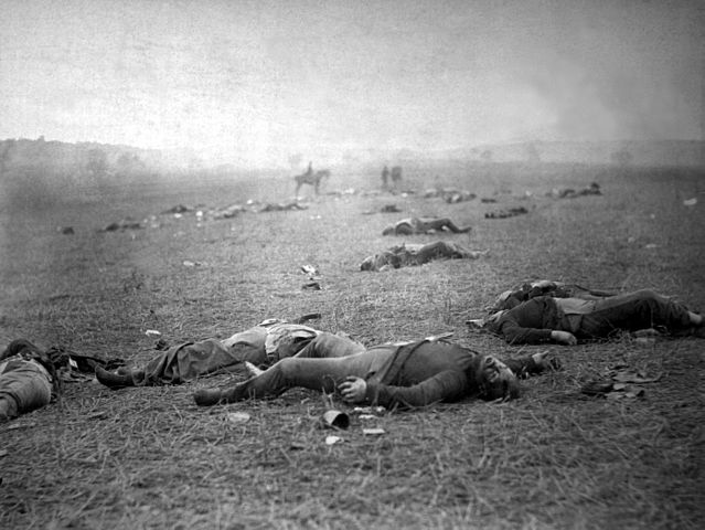 "Timothy O'Sullivan, ""The Harvest of Death"": Union dead on the battlefield at Gettysburg, Pennsylvania, photographed July 5–6, 1863"