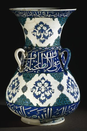Mosque Lamp made for the Dome of the Rock in Jerusalem, 1549, polychrome glazed pottery, Iznik, Turkey, 38 cm high © The Trustees of the British Museum