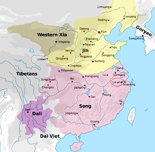 Map of the Southern Song in 1142 (source, CC BY-SA 3.0)