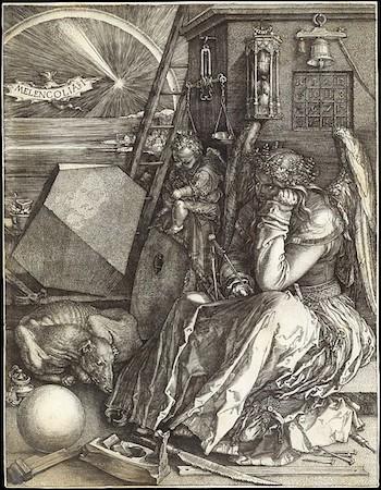 Albrecht Dürer, Melencolia I, 1514, engraving, 24 x 18.5 cm (The Metropolitan Museum of Art)
