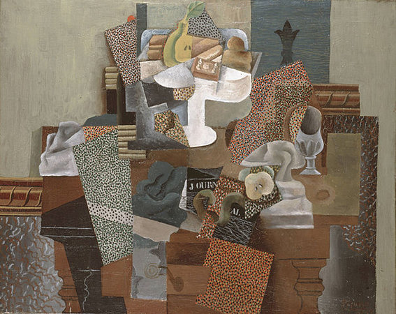 Pablo Picasso, Nature morte au compotier (Still Life with Compote and Glass), 1914-15, oil on canvas, 63.5 x 78.7 (Columbus Museum of Art)