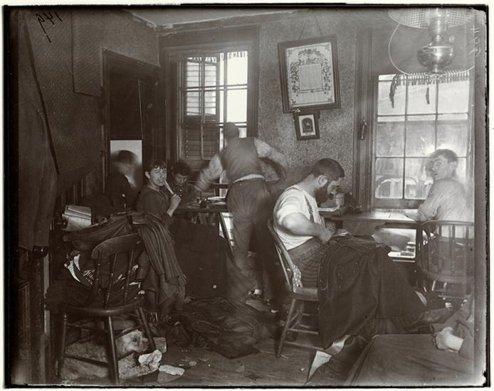 "Jacob August Riis, ""Knee-pants"" at forty five cents a dozen—A Ludlow Street Sweater's Shop, c. 1890, 7 x 6 inches from How the Other Half Lives: Studies Among the Tenements of New York, Charles Scribner's Sons: New York, 1890 (The Museum of the City of New York)"
