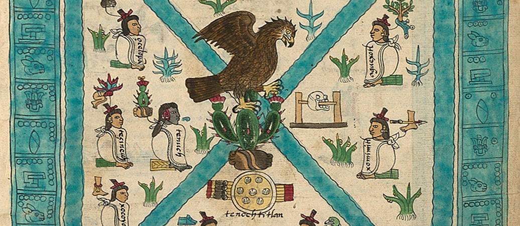Detail with eagle, cactus and shield, Frontispiece, Codex Mendoza, Viceroyalty of New Spain, c. 1541–1542, pigment on paper © Bodleian Libraries, University of Oxford