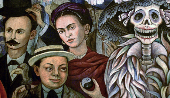 Diego Rivera, detail with the artist as a young man (lower left), the paintier Frida Kahlo (behind him), and La Catrina (the Skeleton), Dream of a Sunday Afternoon in Alameda Central Park (Sueño de una tarde dominical en la Alameda Central), 1947, 4.8 x 15 m (Museo Mural Diego Rivera, originally, Hotel del Prado, Mexico City)