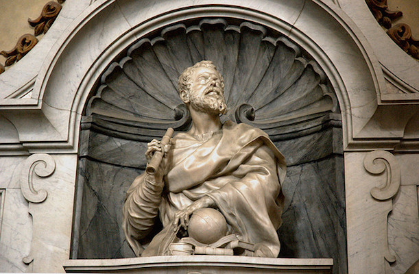 Bust of Galileo (detail), Giambattosta Foggini, Tomb of Galileo, 1727, Santa Croce, Florence, Italy