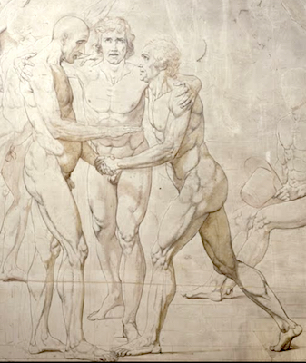Jacques Louis David, The Jeu de Paume Oath (or Oath of the Tennis Court), 1790-92,Pen, ink, wash, and white highlights on pencil strokes, 660 x 400 cm (Palace of Versailles)