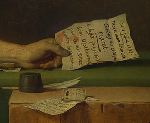 Detail, Jacques-Louis David, Death of Marat, 1793, oil on canvas, 165 x 128 cm (Royal Museum of Fine Arts, Brussels)