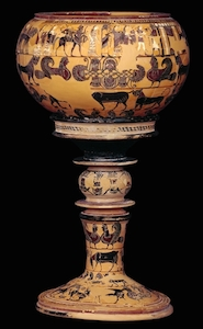 Sophilos (painter), Black-figured bowl (dinos) and stand, c. 580 B.C.E., 71 cm high, Athens  (The British Museum)