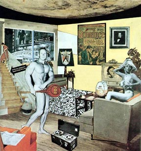 Richard Hamilton, Just what is it that makes today's home so different, so appealing?, 1956, collage, 26 cm × 24.8 cm (10.25 in × 9.75 in) (Kunsthalle Tübingen, Tübingen, Germany)