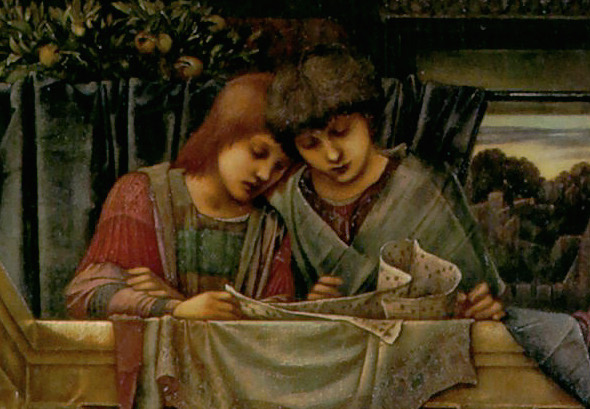 Figures at the top (detail), Edward Burne-Jones, King Cophetua and the Beggar Maid, oil on canvas, 1884, 293.4 x 135.9 cm (Tate Britain, London)