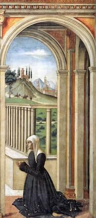 Domenico Ghirlandaio, Portrait of the Donor Francesca Pitti-Tornabuoni, c. 1485-90, fresco (Cappella Maggiore, Santa Maria Novella, Florence)