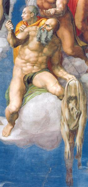 St. Bartholomew (detail), Michelangelo, Last Judgment, Sistine Chapel, fresco, 1534-1541 (Vatican City, Rome)
